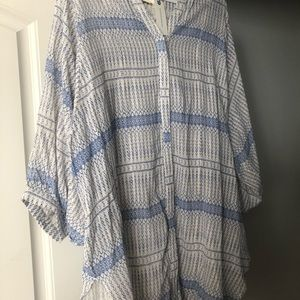 Anthropologie Tops - Anthropologie blue and cream tunic NWT